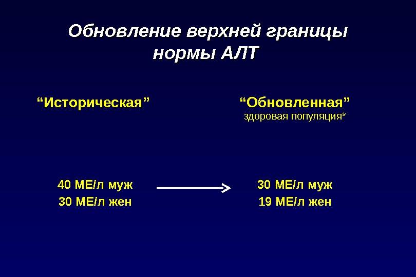 """Обновление верхней границы нормы АЛТ  """" Историческая """" """" Обновленная """" здоровая популяция * 40"""