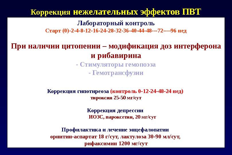 Коррекция нежелательных эффектов ПВТ Лабораторный контроль Старт (0)-2-4-8-12-16-24-28-32-36-40-44-48---72----96 нед При наличии цитопении – модификация доз интерферона