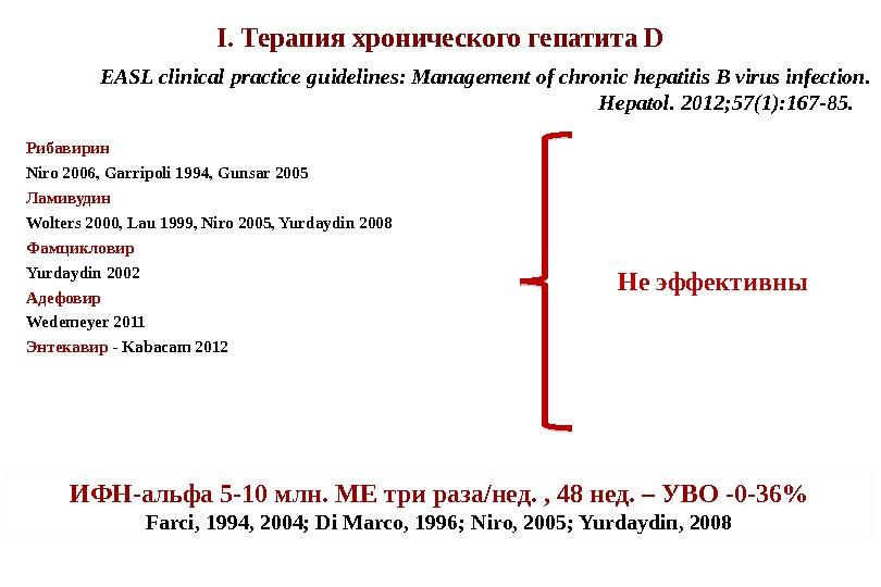 I. Терапия хронического гепатита D Рибавирин  Niro 2006, Garripoli 1994, Gunsar 2005 Ламивудин Wolters 2000,