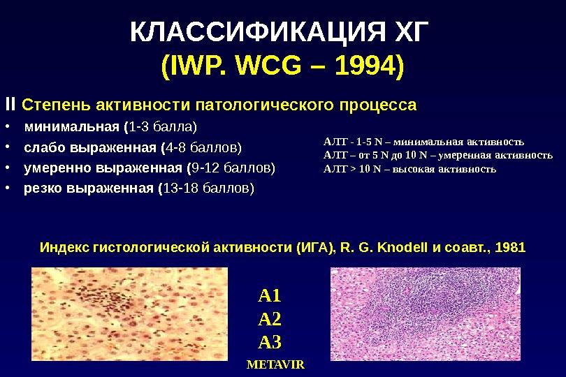 КЛАССИФИКАЦИЯ ХГ  (IWP. WCG – 1994) II  Степень активности патологического процесса  • минимальная