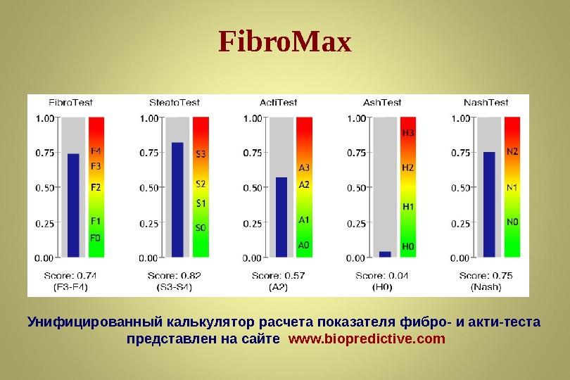 Fibro. Max Унифицированный калькулятор расчета показателя фибро- и акти-теста представлен на сайте  www. biopredictive. com