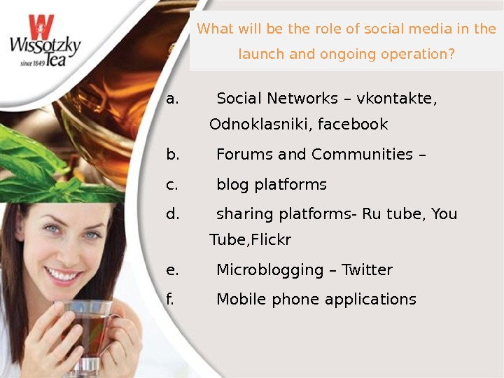 What will be the role of social media in the launch and ongoing operation? a. Social