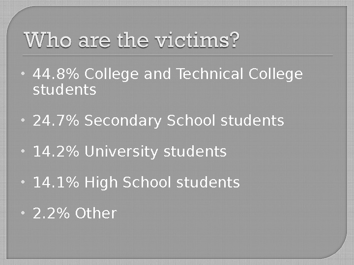 44. 8 College and Technical College students 24. 7 Secondary School students 14. 2 University