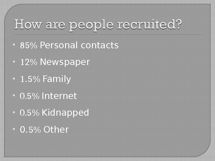 85 Personal contacts 12 Newspaper 1. 5 Family 0. 5 Internet 0. 5 Kidnapped 0.
