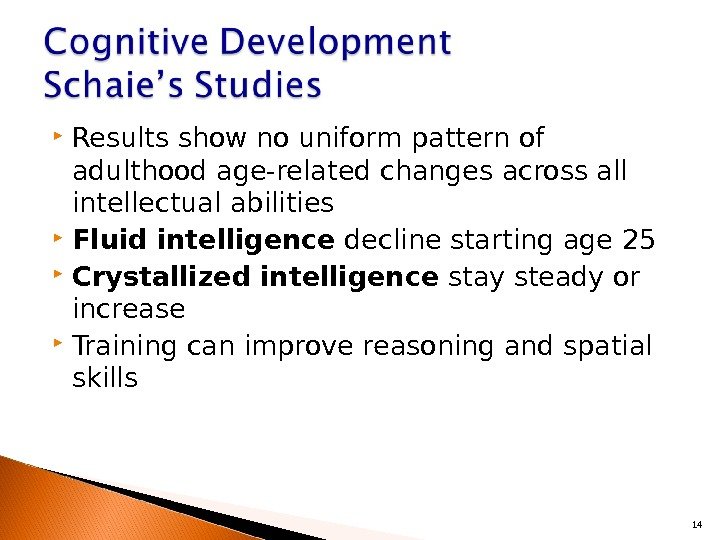 Results show no uniform pattern of adulthood age-related changes across all intellectual abilities Fluid intelligence