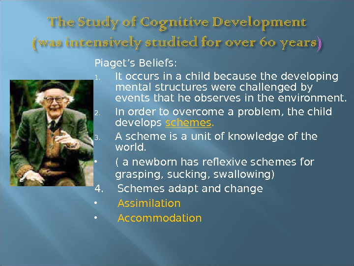 Piaget's Beliefs: 1. It occurs in a child because the developing mental structures were challenged by