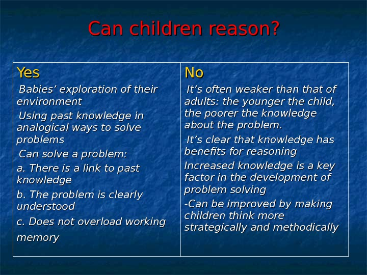 Can children reason? Yes - Babies' exploration of their environment - Using past knowledge in analogical
