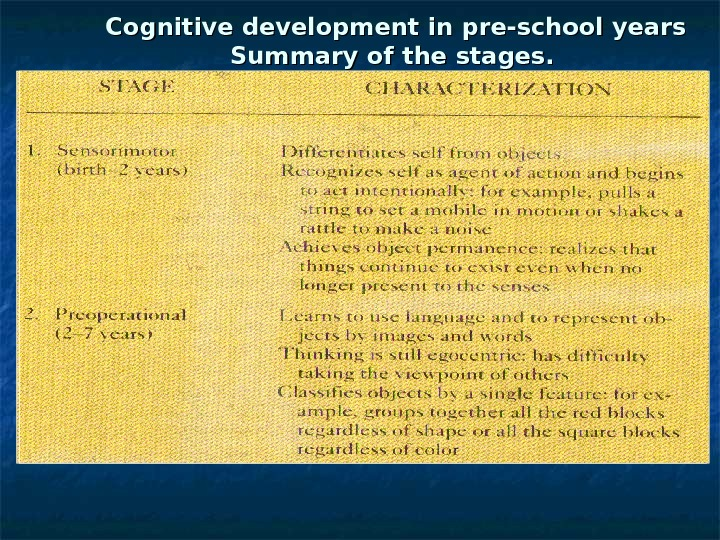 Cognitive development in pre-school years Summary of the stages.