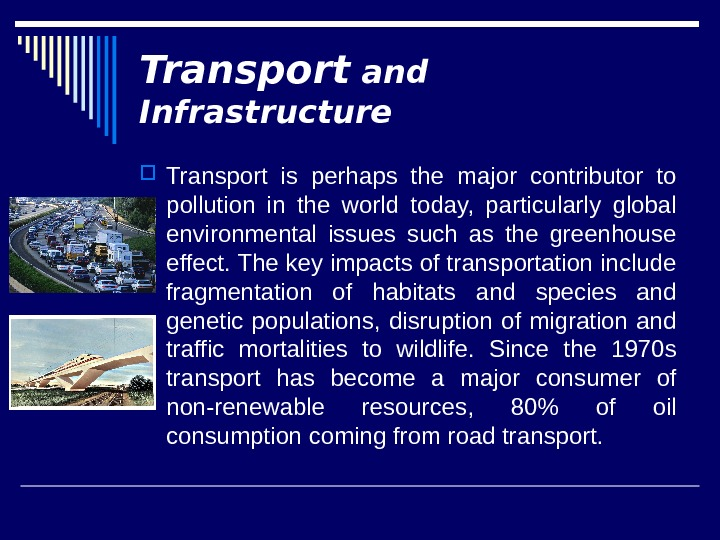 Transport and Infrastructure Transport is perhaps the major contributor to pollution in the world today,