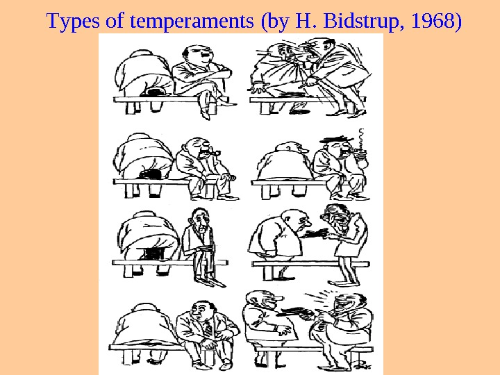 Т ypes of temperaments ( by  H.  Bidstrup , 1968)