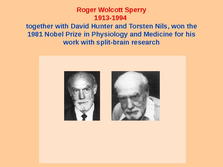Roger Wolcott Sperry 1913 -1994 together with David Hunter and Torsten Nils, won the 1981 Nobel