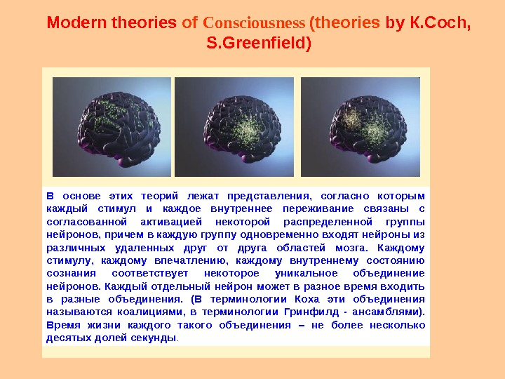 Modern theories of Consciousness ( theories  by К. Coch,  S. Greenfield )В основе этих