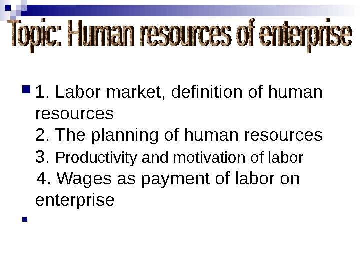1.  Labor market, definition of human resources 2.  The planning of human