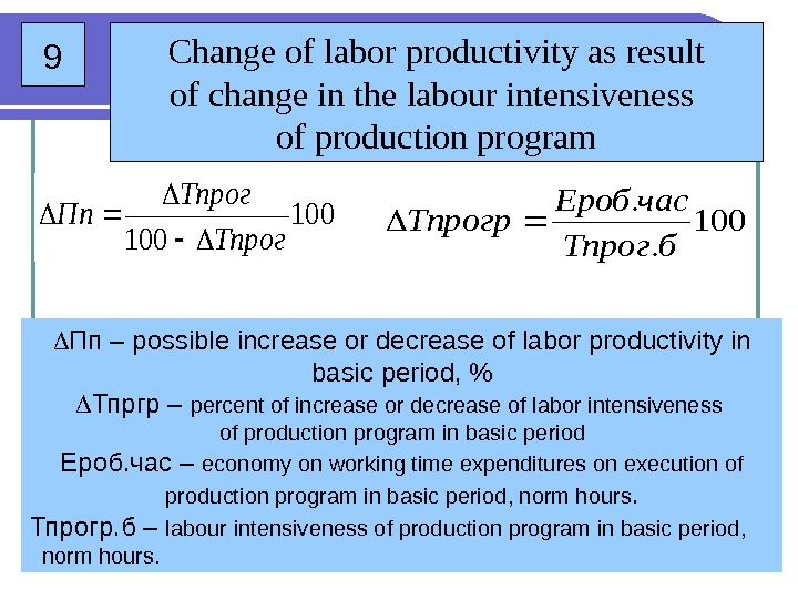 9 Change of labor productivity as result of change in the  labour intensiveness