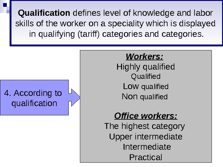 4.  According to qualification Workers :  Highly qualified Qualified Low qualified Non