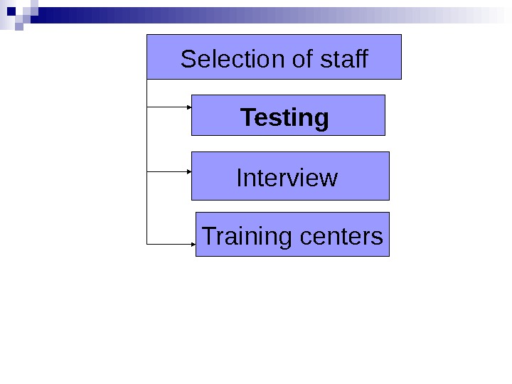 Selection of staff Interview Testing  Training centers