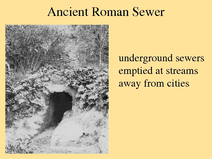 Ancient. Roman. Sewer undergroundsewers emptiedatstreams awayfromcities