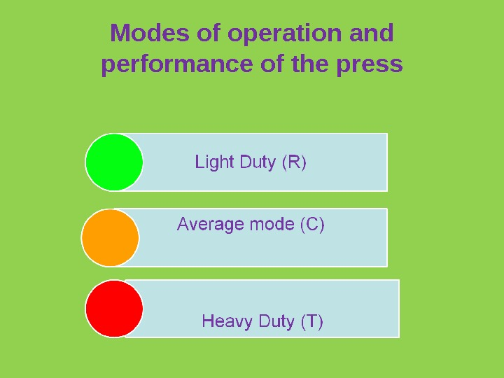 Modes of operation and performance of the press