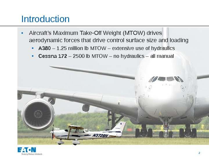 2Introduction  • Aircraft's Maximum Take-Off Weight (MTOW) drives aerodynamic forces that drive control surface size