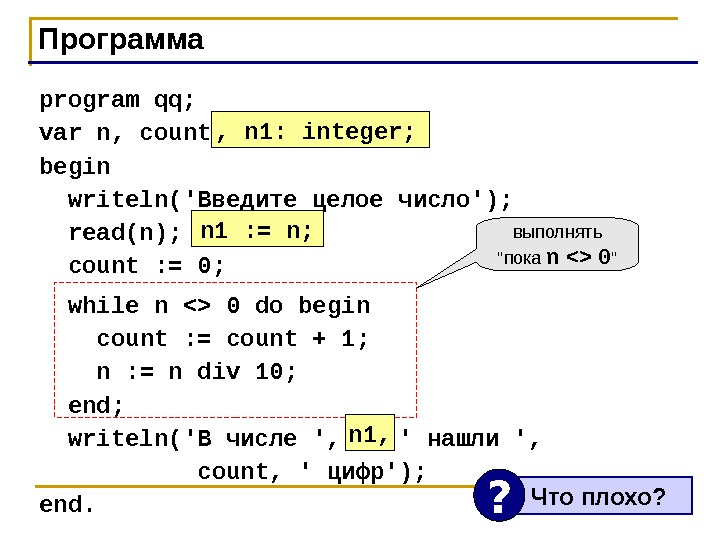 Программа program qq; var n, count: integer; begin  writeln(' Введите целое число '); read(n); count