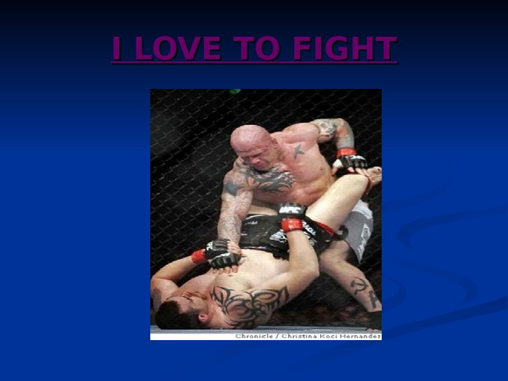 I LOVE TO FIGHT