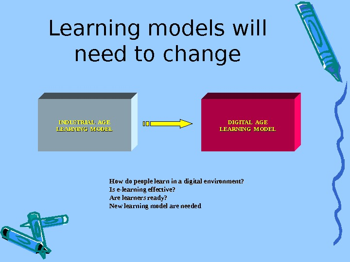 Learning models will need to change INDUSTRIAL AGE LEARNING MODEL DIGITAL AGE LEARNING MODEL