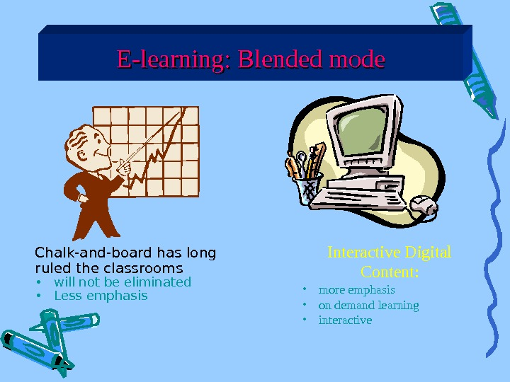 E-learning: Blended mode Chalk-and-board has long ruled the classrooms • will not be eliminated