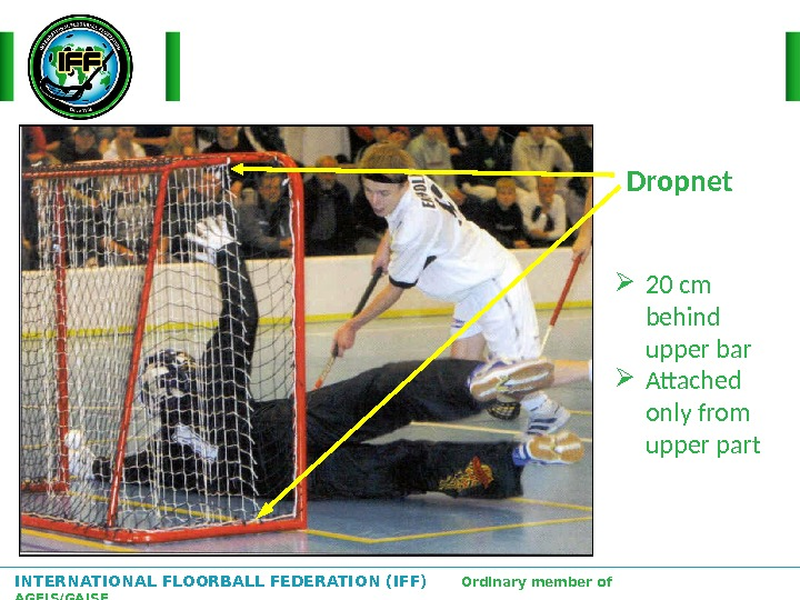 INTERNATIONAL FLOORBALL FEDERATION (IFF)  Ordinary member of AGFIS/GAISF Dropnet 20 cm behind upper bar Attached