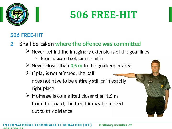 INTERNATIONAL FLOORBALL FEDERATION (IFF)  Ordinary member of AGFIS/GAISF 506 FREE-HIT 2 Shall be taken where