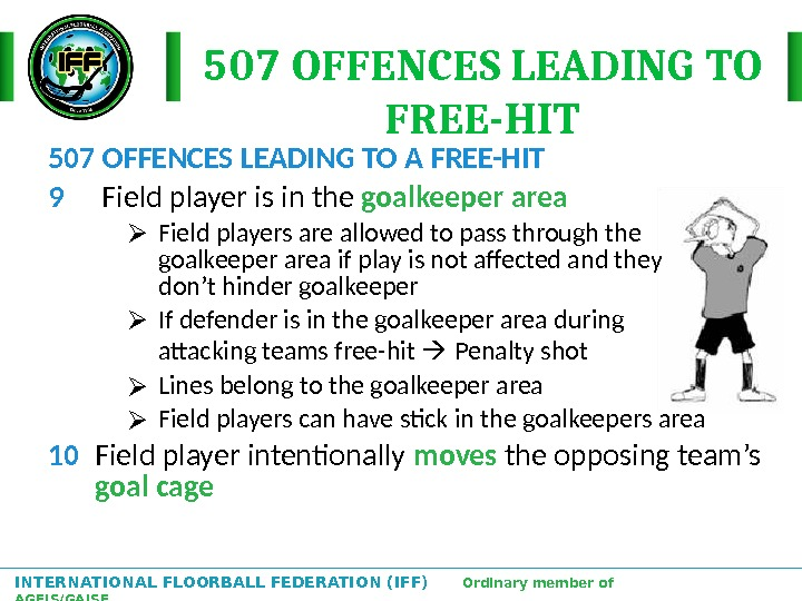 INTERNATIONAL FLOORBALL FEDERATION (IFF)  Ordinary member of AGFIS/GAISF 507 OFFENCES LEADING TO A FREE-HIT 9