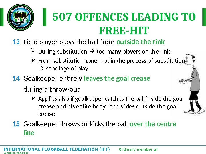 INTERNATIONAL FLOORBALL FEDERATION (IFF)  Ordinary member of AGFIS/GAISF 507 OFFENCES LEADING TO FREE-HIT 13 Field