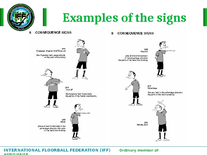 INTERNATIONAL FLOORBALL FEDERATION (IFF)  Ordinary member of AGFIS/GAISF Examples of the signs