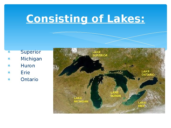 Consisting of Lakes: Superior Michigan Huron  Erie  Ontario