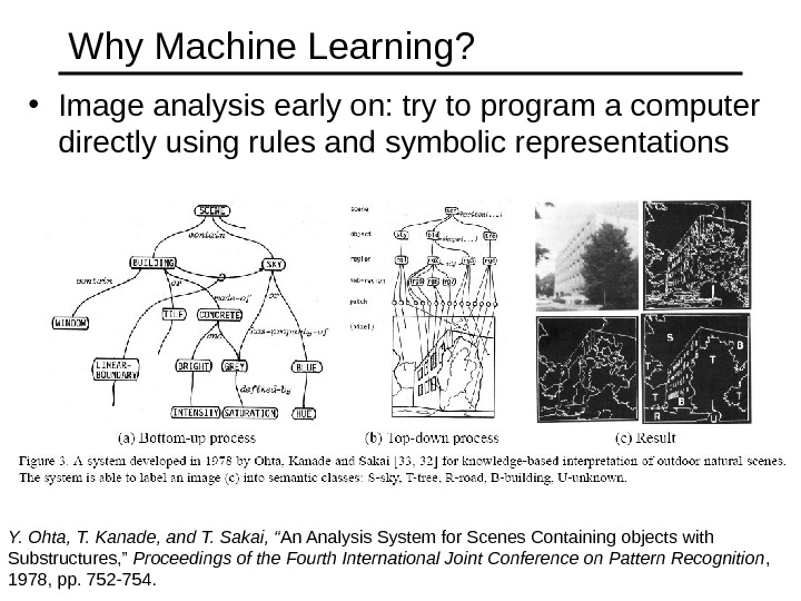 Why Machine Learning?  • Image analysis early on: try to program a computer directly using