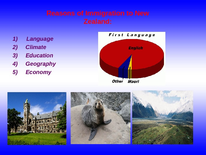 Reasons of Immigration to New Zealand : 1) Language 2) Climate 3) Education 4)