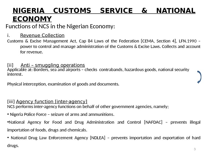 NIGERIA CUSTOMS SERVICE & NATIONAL ECONOMY Functions of NCS in the Nigerian Economy:   i.