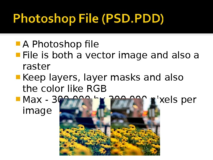 A Photoshop file File is both a vector image and also a raster Keep layers,