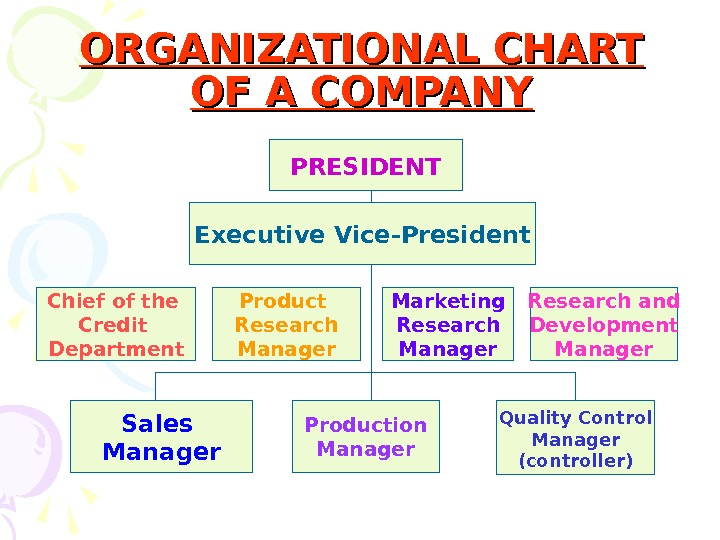 ORGANIZATIONAL CHART OF A COMPANY PRESIDENT Executive Vice-President Chief of the Credit Department Product