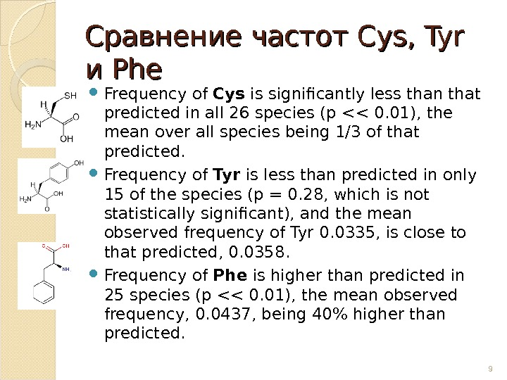 Сравнение частот Cys, Tyr и и Phe  Frequency of Cys is significantly less than that