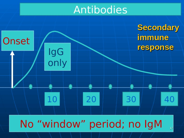 "Secondary immune response. Onset  10 No ""window"" period; no Ig. M 20 Ig. G only"