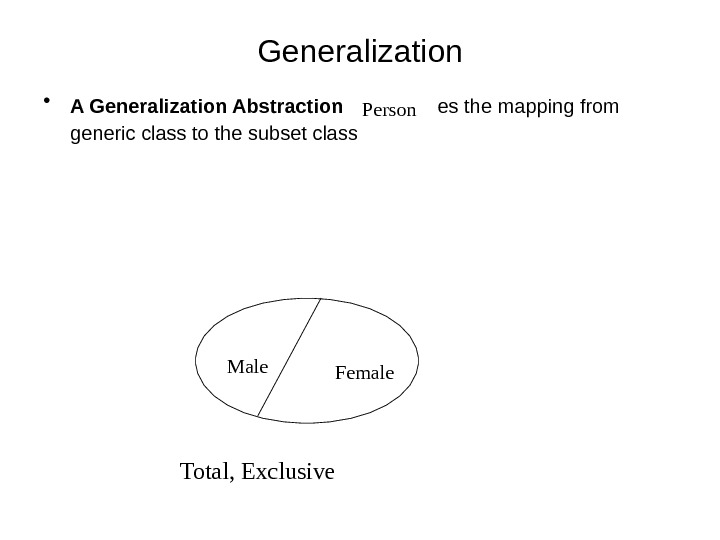 Generalization • A Generalization Abstraction  establishes the mapping from generic class to the subset class