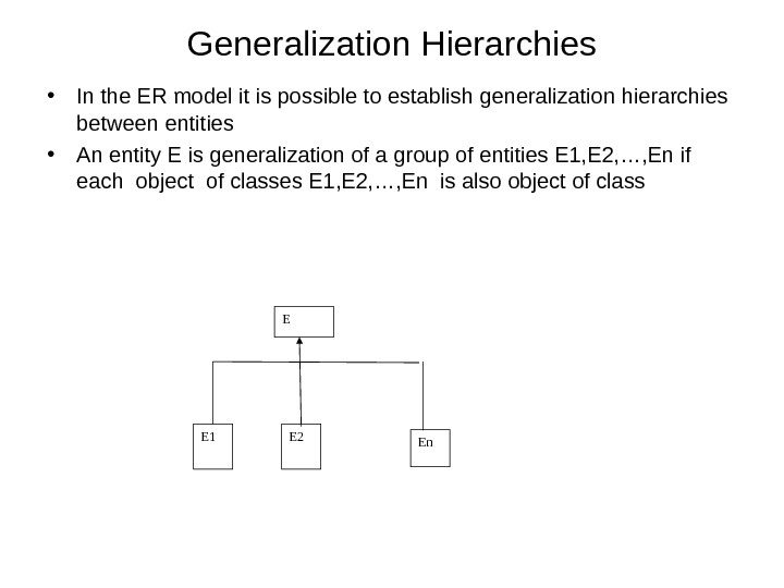 Generalization Hierarchies • In the ER model it is possible to establish generalization hierarchies between entities