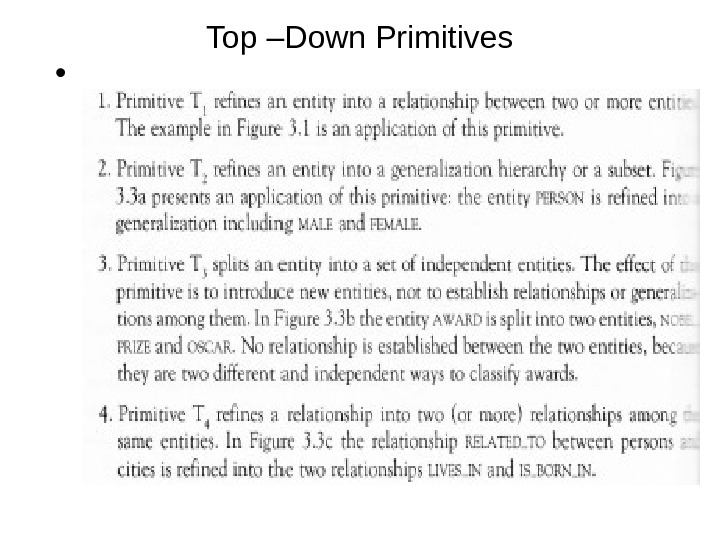 Top –Down Primitives •
