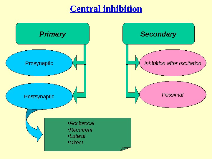 Central inhibition Inhibition after excitation Pessimal. Presynaptic • Reciprocal  • Recurrent • Lateral • Direct.