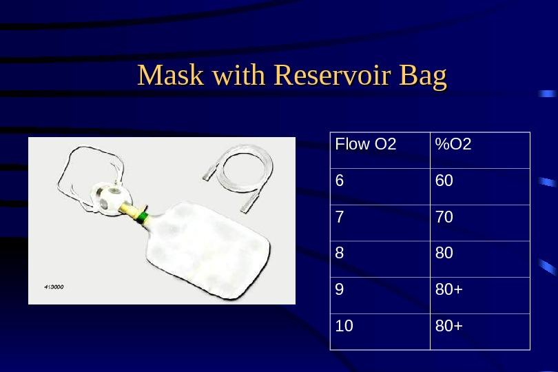 Mask with Reservoir Bag  Flow O 2 O 2 6 60 7 70 8 80