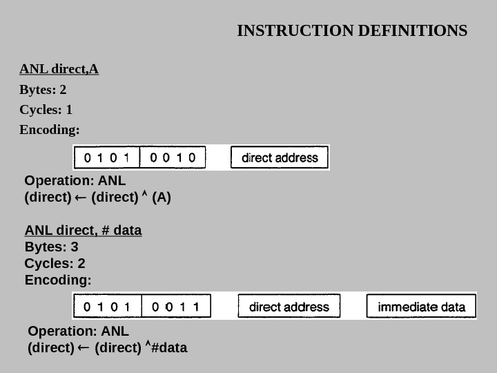 INSTRUCTION DEFINITIONS ANL direct, A Bytes: 2 Cycles:  1 Encoding:  Operation: ANL (direct)