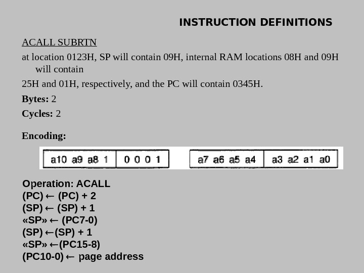INSTRUCTION DEFINITIONS ACALL SUBRTN at location 0123 H, SP will contain 09 H, internal RAM locations