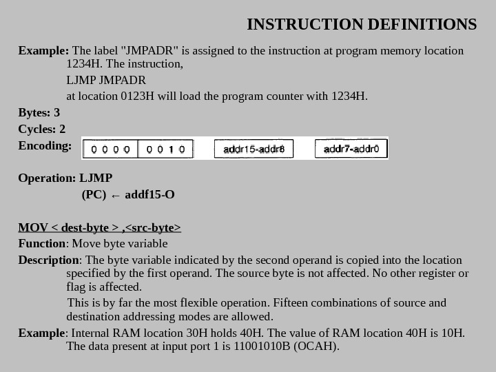 INSTRUCTION DEFINITIONS Example:  The label JMPADR is assigned to the instruction at program memory location