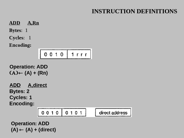 INSTRUCTION DEFINITIONS ADD A, Rn Bytes :  1 Cycles :  1 Encoding:  Operation: