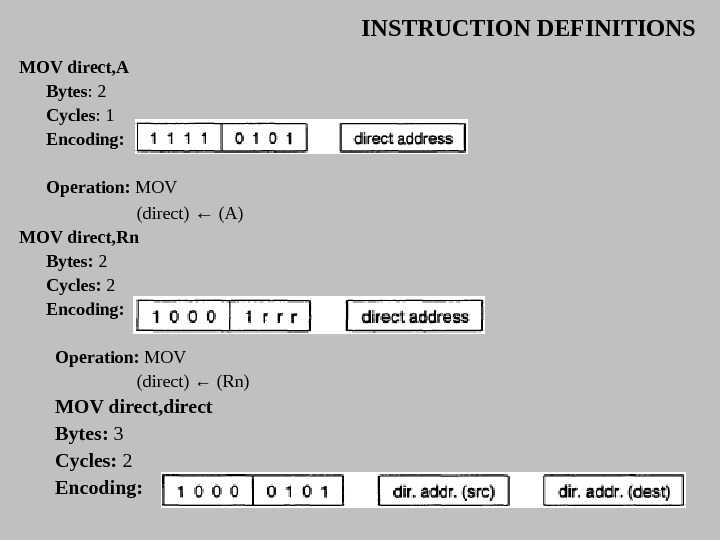 INSTRUCTION DEFINITIONS MOV direct, A Bytes : 2 Cycles : 1 Encoding:  Operation:  MOV